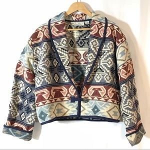 Flashback Southwest Blanket Weave Cropped Jacket